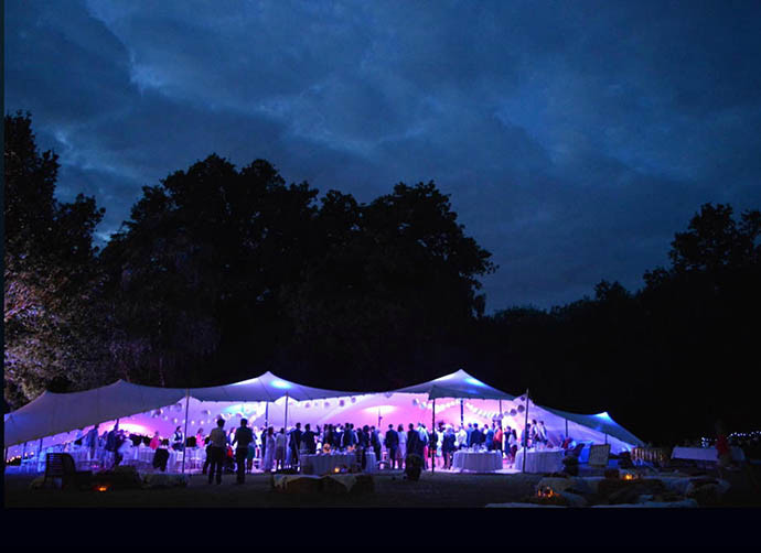 Wedding stretch tent at night